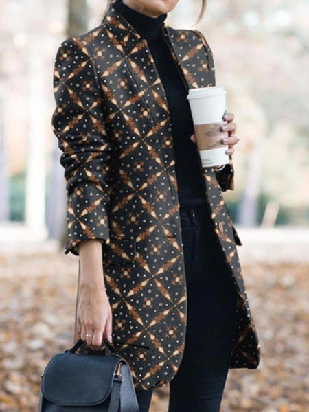 Fashion Casual Lapel Print Outwear Coat