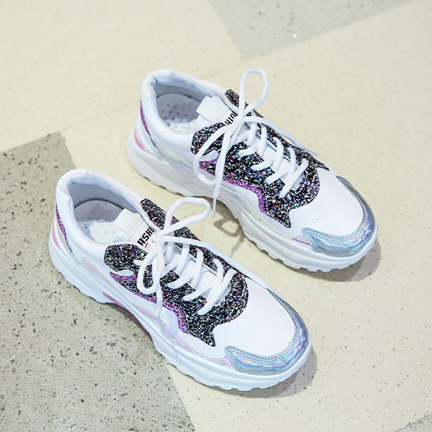 Golden Silver Wave Shoes Women Platform Sneakers