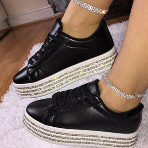 Women's Fashion Casual Solid Color Rhinestone Edge Platform Sneakers