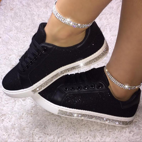 Fashion Women Rhinestone Solid Color Flat Sneakers