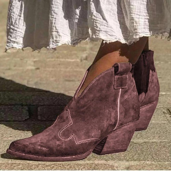 Vintage Solid Color Ankle Boots