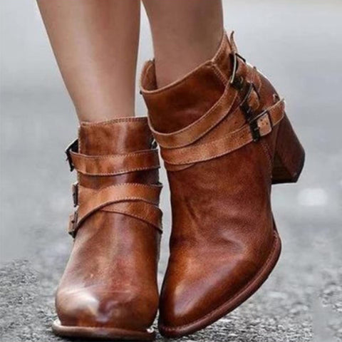 Euramerican Style Buckle Side Zipper Chunky Heels Ankle Boots