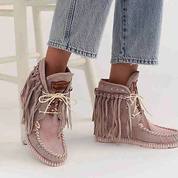 Women's European And American Fashion Solid Color Tassel Ankle Boots