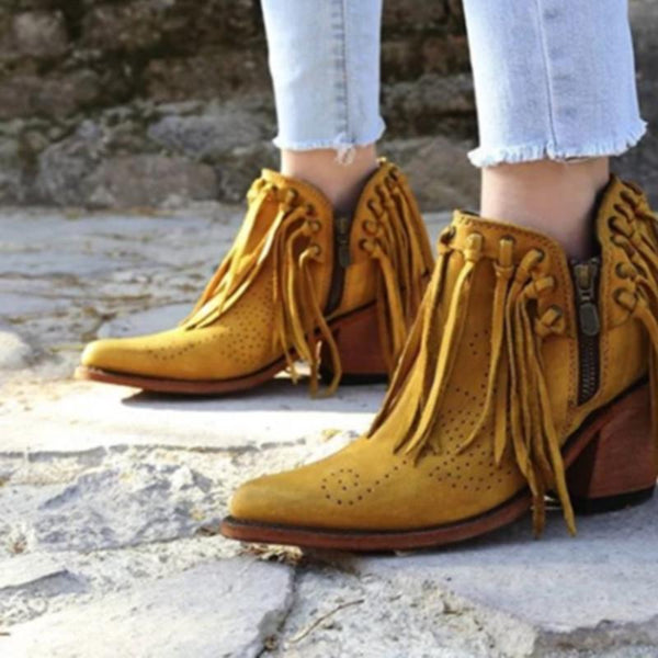 Classic Tassel Side Zipper Pure Color Ankle Boots