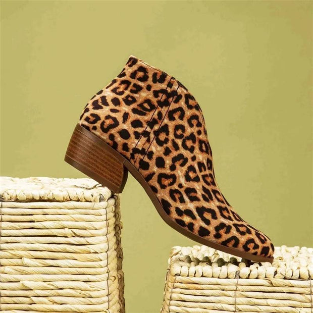 Women's Fashion Solid Color Leopard Print Upper Hollowed Out Ankle Boots