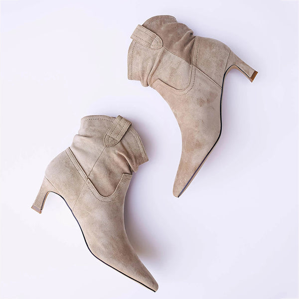 Women's Fashion Temperament Pure Color Suede Ankle Boots