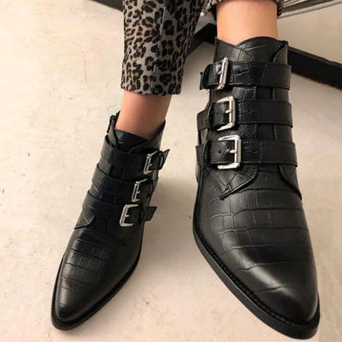 Women's fashion black belt buckle pointed ankle boots