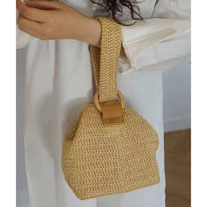 Circle buckle cute braid basket hand straw braid square bag