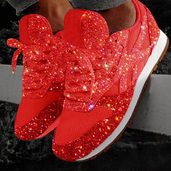 Women's Solid Color Sequined Sneakers