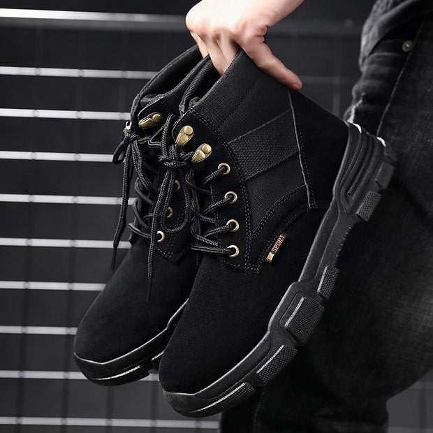 casual men's lace-up splicing martin boots