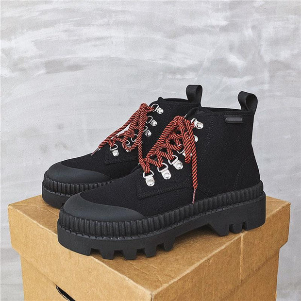 Retro men's mixed color lace-up round-toed martin boots lc038