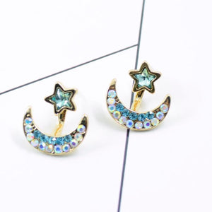 Fashion Fivepointed star earring blue moon   stars crystal stud earrings