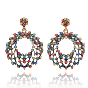 Fashion   boho colored circle earrings