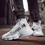 Casual men's lace-up platform socks sneakers wq09