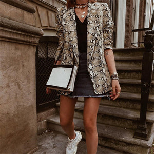 Fashion Long Sleeve Snakeskin Blazer