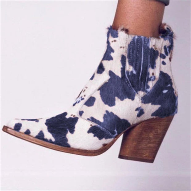 Ladys vintage milk leather chunky heels ankle boots