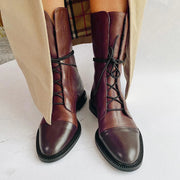2019 comfortable flat bottom locomotive leather boots