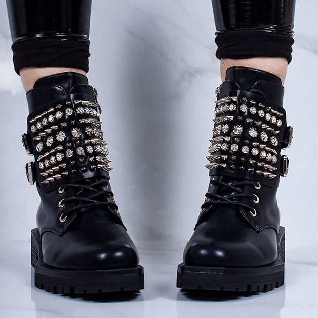 Women's Fashion Solid Color Studded Belt Buckle Boots