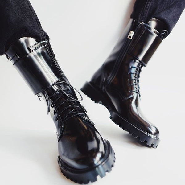 Women's Fashion Buckle Lace Up Booties