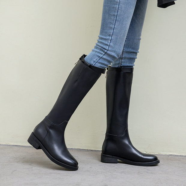 Women's Fashion Solid Color Round Toe Elastic High Boots BJ101