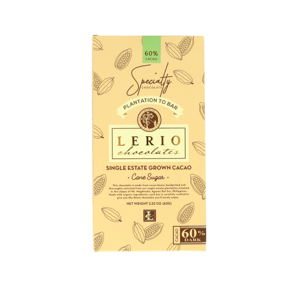 Lerio Chocolates 60% Dark Chocolate 63g - Foodsource PH