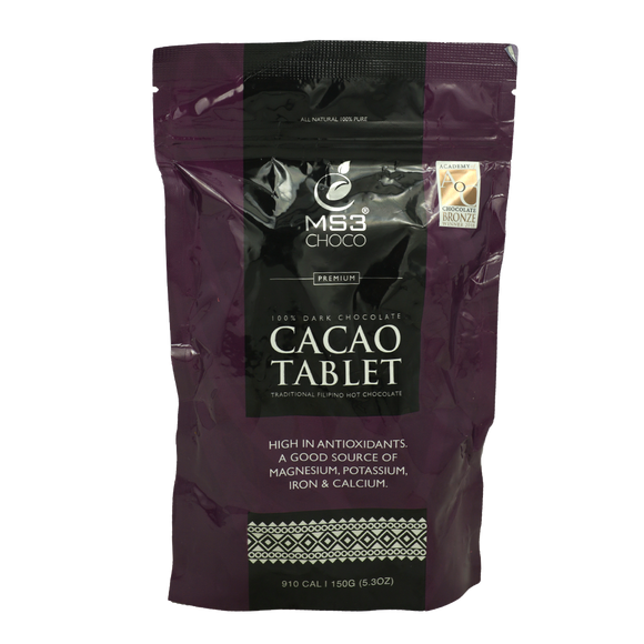 MS3 Choco 100% Dark Chocolate Cacao Tablet 150g - Foodsource PH