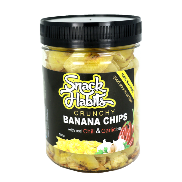 Snack Habits Crunchy Banana Chips with real Chili & Garlic bits 180g