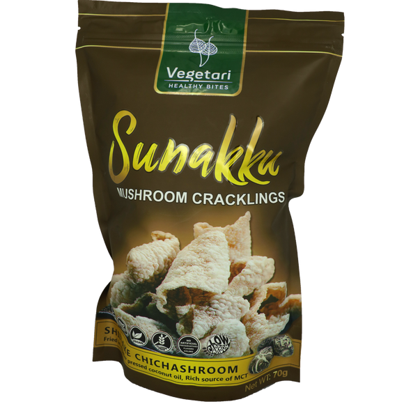 Vegetari Healthy Bites Sunakku Mushroom Crackling Shitake Chichashrooms 70g - Foodsource PH