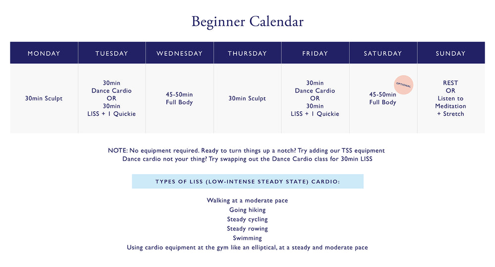 The Sculpt Society Beginner Calendar