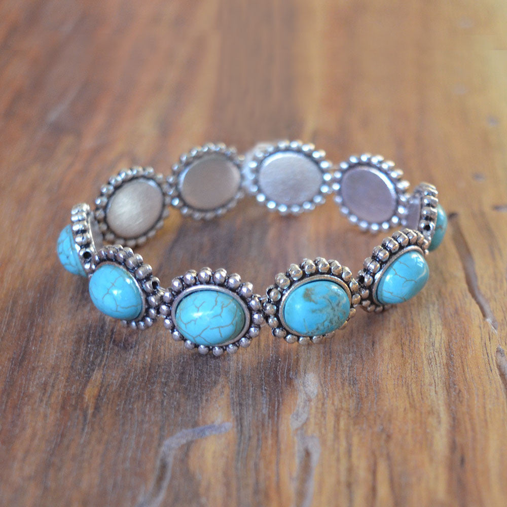 Turquoise and Silver Stretch Bracelet