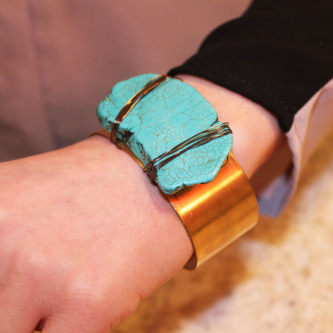 Turquoise Wire Wrap Cuff
