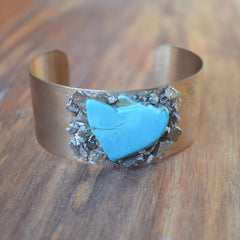 Turquoise and Pyrite Cuff