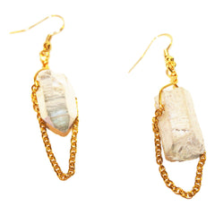 Light Blue Quartz Chain Earrings
