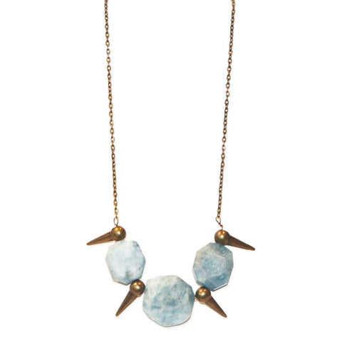 Aquamarine Stone Spike Necklace