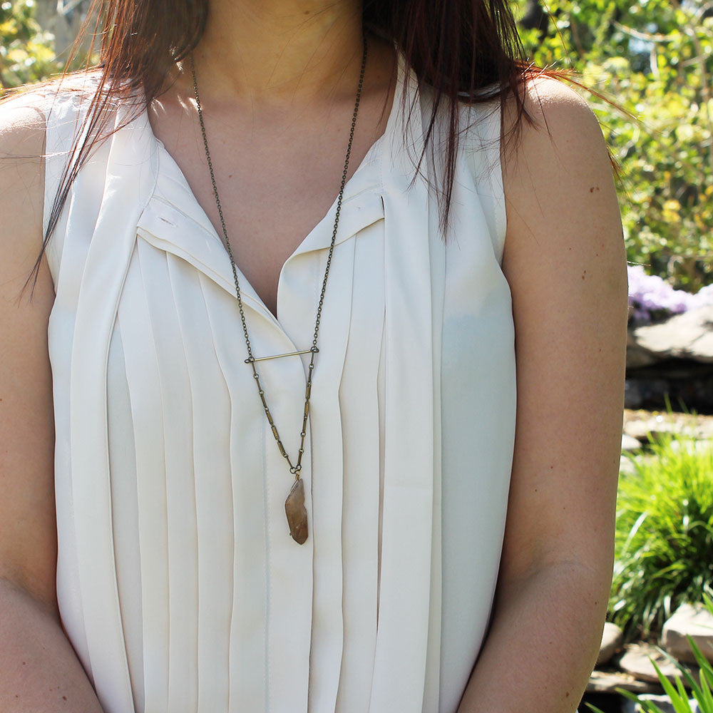 Honey Quartz Ladder Necklace