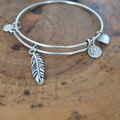 Silver Feather Bangle