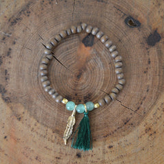 Wood and Green Bead Tassel Bracelet