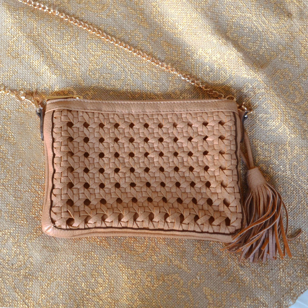 Taupe Weaved Clutch