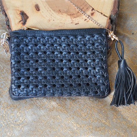 Black Weaved Clutch