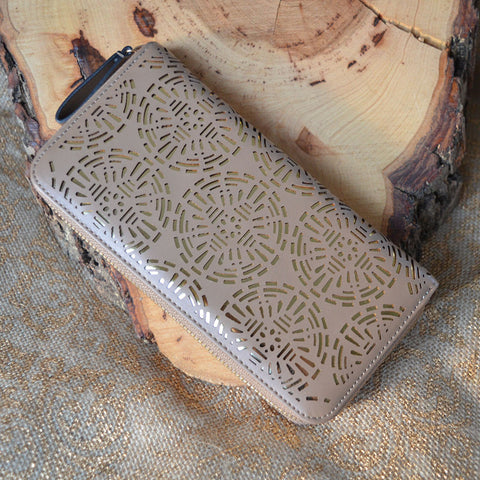 Beige and Gold Laser Cut Wallet