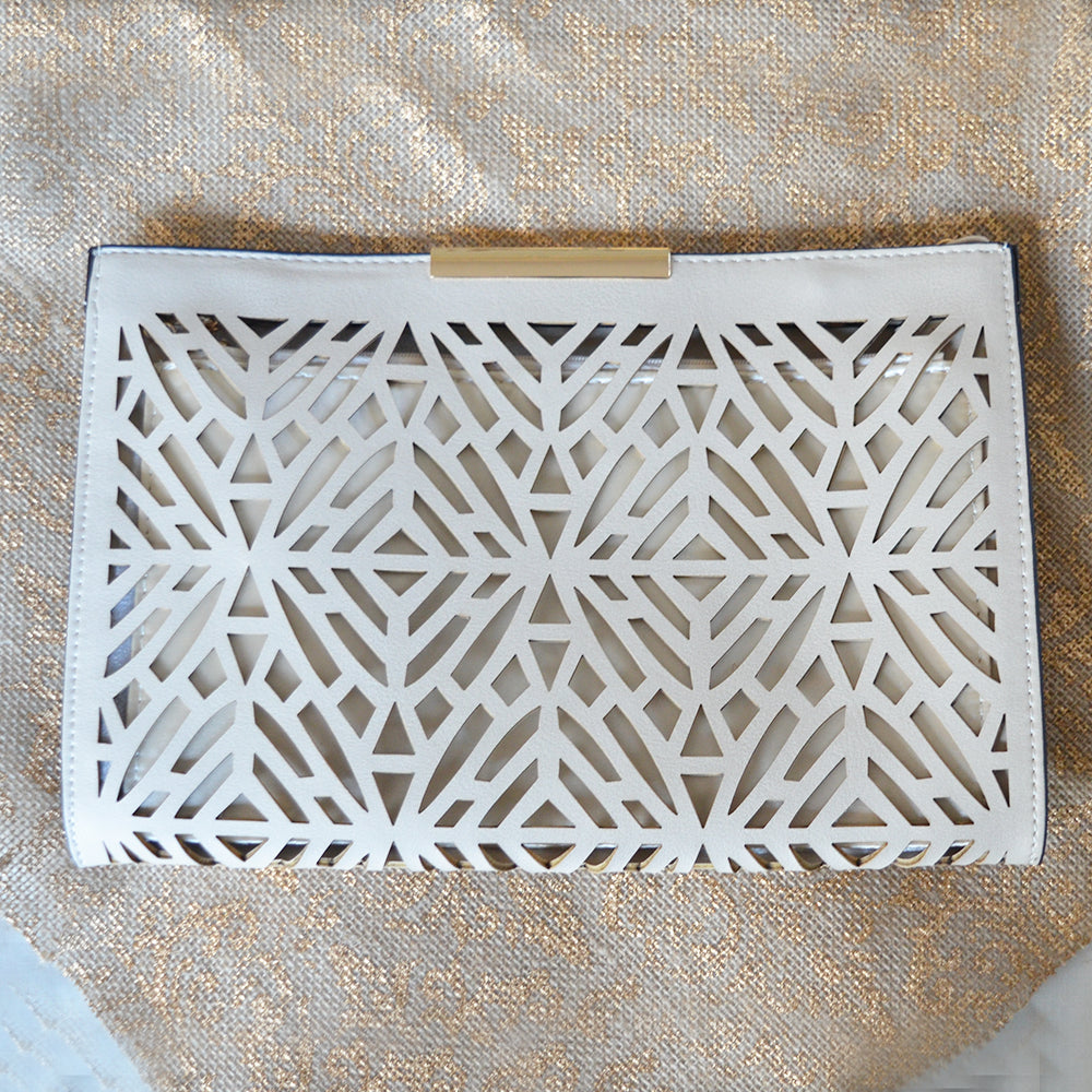 Nude Geo Laser Cut Clutch