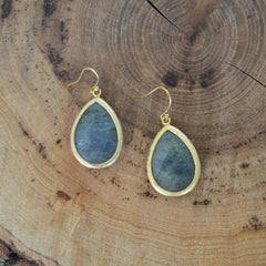 Smokey Stone Tear Drop Earrings