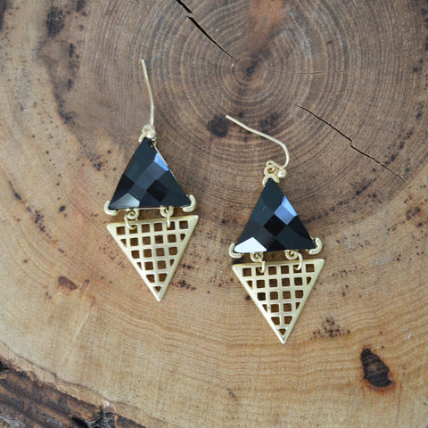 Onyx and Gold Grid Earrings