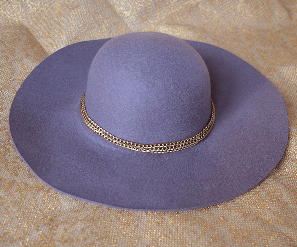 Violet Grey Wool Floppy Hat