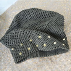 Olive Stud Slouch Beanie