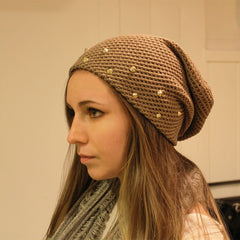 Beige Stud Slouch Beanie
