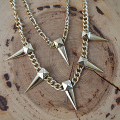 Gold Stud and Spike Necklace