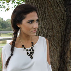 Black Bead Statement Necklace