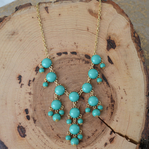 Seafoam Bead Statement Necklace