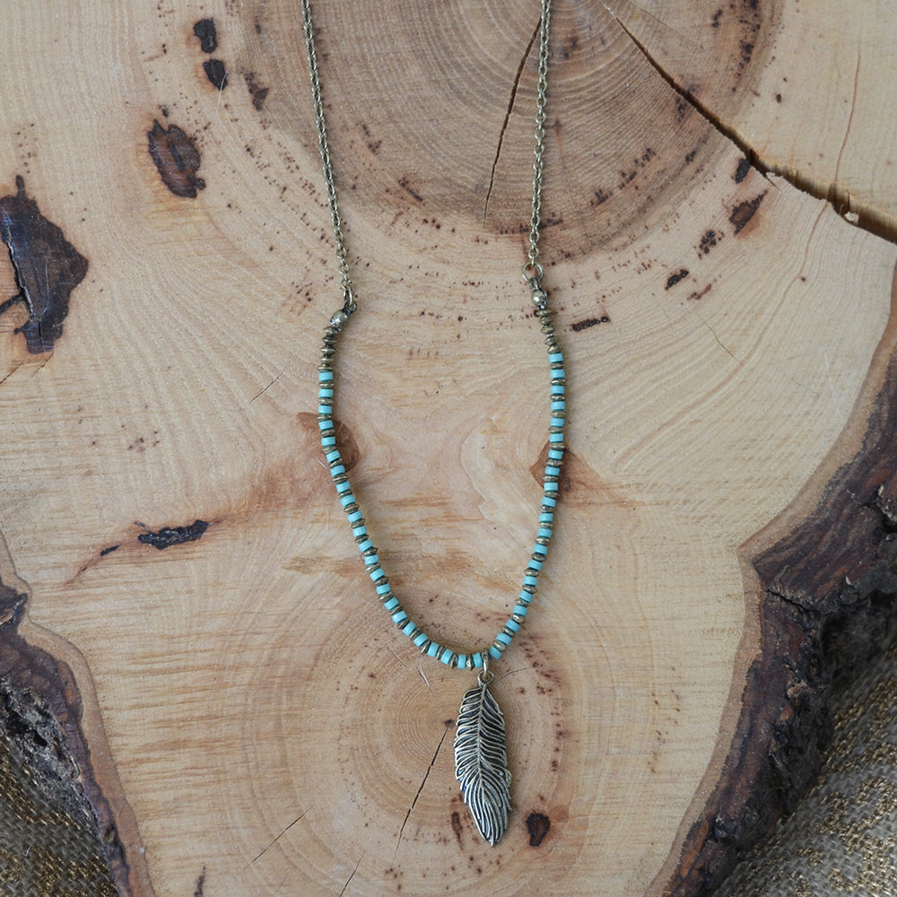 Turquoise Bead Feather Necklace